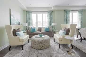 Seafoam and Green Dream - Living Space Design in Markham by Royal Interior Design Ltd.