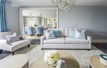 Soft Hues of Blue and Grey - GTA Living Space Renovations by Royal Interior Design Ltd.