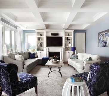 Timeless Blue Living Space Decorating Services Aurora by Royal Interior Design Ltd.
