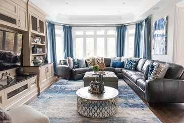 Casual Earth Tones and Vibrant Royals - Aurora Living Space Renovations by Royal Interior Design Ltd.