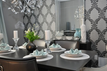 Elegant Baby Blue - Dining Room Renovations Newmarket ON by Royal Interior Design Ltd.
