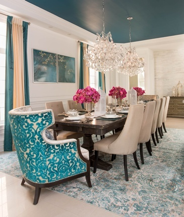 Bright Turquoise Dining Room Renovations Markham by Royal Interior Design Ltd.