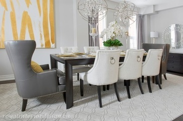 Pop of Yellow - Dining Room Renovations Richmond Hill by Royal Interior Design Ltd.