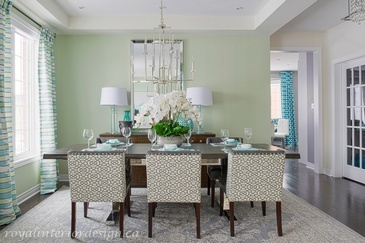 Turquoise and Green Dining Room Renovations Thornhill ON by Royal Interior Design Ltd.