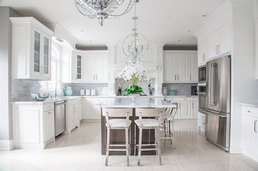 Bright White Traditional Kitchen Interior Design by Royal Interior Design Ltd.