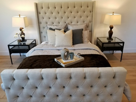 Grey Color Upholstered Sleigh Bed - Urban 57 Home Decor Interior Design, Furniture Store in Sacramento