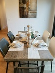 Rectangular Dining Table With Dinnerware Set on Top - Home Furnishings in Sacramento CA