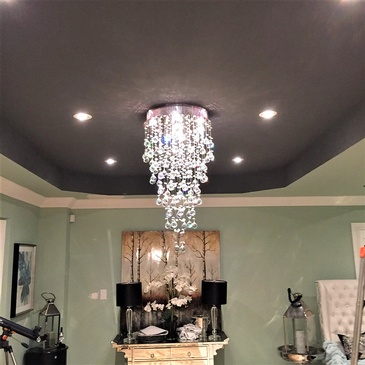 Crystal Chandelier Installation by H MAN ELECTRIC