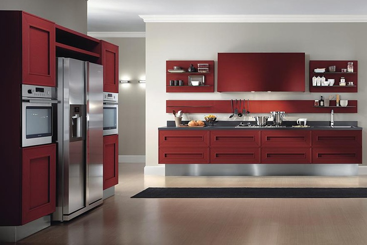 Red and White Kitchen Cabinets Atlanta - Old Castle Home Design Center
