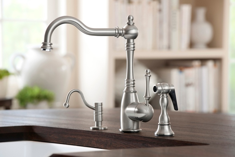 Silver Centerset Kitchen Faucet by OldCastle Home Design Center in Atlanta GA