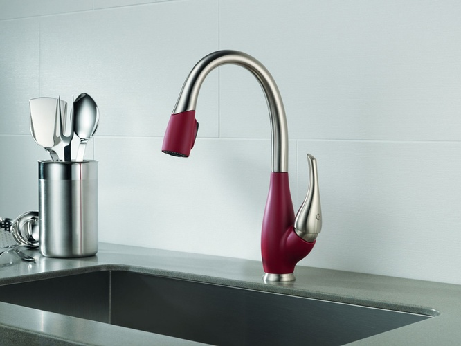 Pink and Gray Kitchen Sink Faucet by Old Castle Home Design Center in Atlanta GA