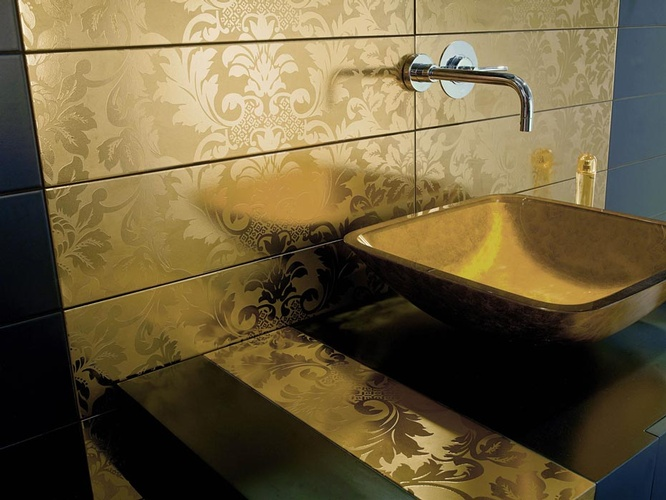 Ceramic Golden Bath Tiles in Atlanta by old Castle Home Design Center