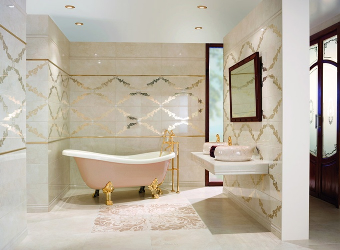 Beige Ceramic Bathroom Tiles by Old Castle Home Design Center
