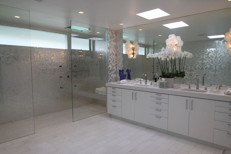 Mosaic Glass Tiles Design for Bathroom by Old Castle Home Design Center  in Atlanta