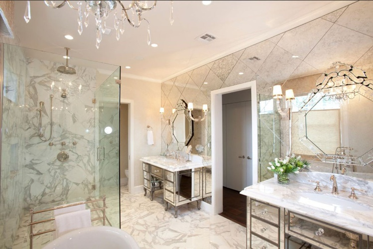 Natural Stone Bathroom designed by Old Castle Home Design Center