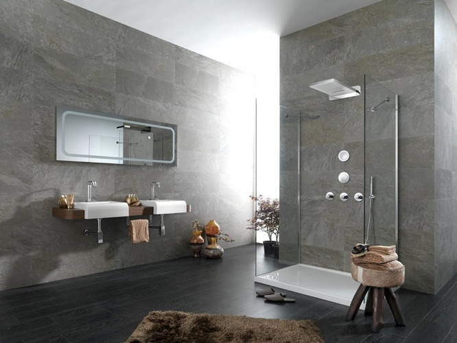Grey Porcelain Wall and Floor Tiles by Old Castle Home Design Center