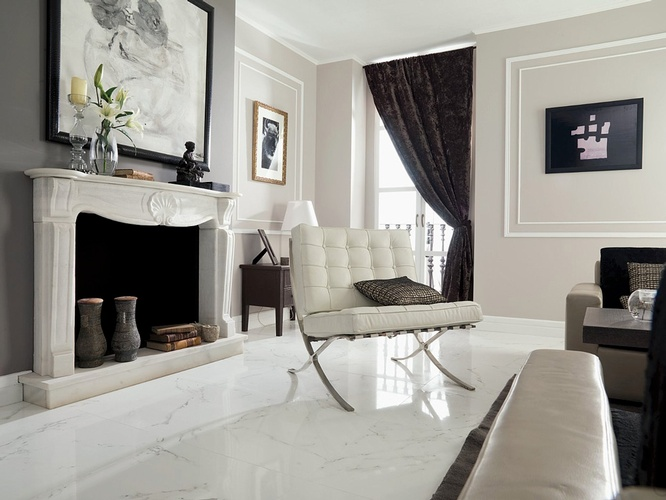 Milky White Porcelain Tiles in Atlanta by Old Castle Home Design Center