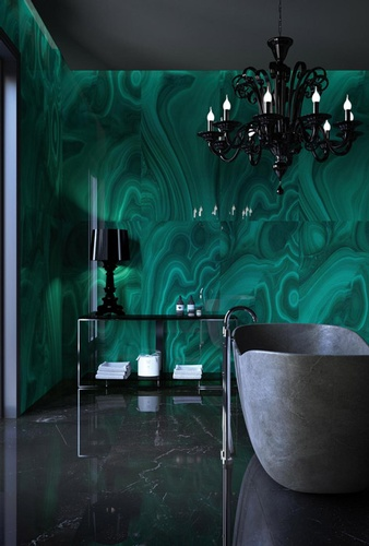 Green Abstract Design Porcelain Bathroom Tiles by Old Castle Home Design Center