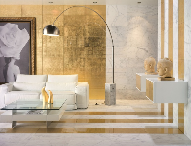 Decorative Gold Glass Tiles in Atlanta by  Old Castle Home Design Center