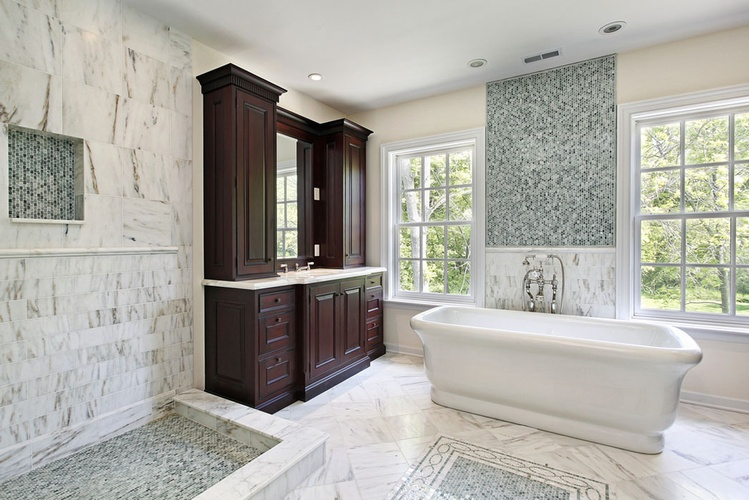 Glass Mosaic Tiles for Bathroom by  Old Castle Home Design Center