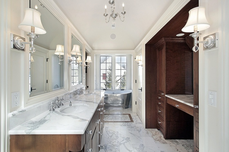 Bathroom Natural Stone Flooring by Old Castle Home Design Center