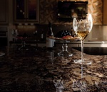 Wine Glass on Quartz Kitchen Countertop