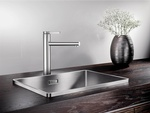 Metal Kitchen Sink Faucet on Wood Kitchen Countertop