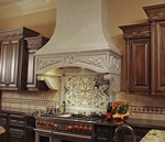 Wall mounted Kitchen Hood Design by Old Castle Home Design Center in Atlanta