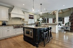 White Wood Finish Kitchen Hood Design in Atlanta GA by Old Castle Home Design Center