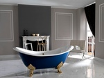 Modern Blue freestanding Bathtub by Ola Castle Home Design Center in Atlanta