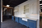 Beautiful White and Blue Kitchen Cabinets Design by Old Castle Home Design Center