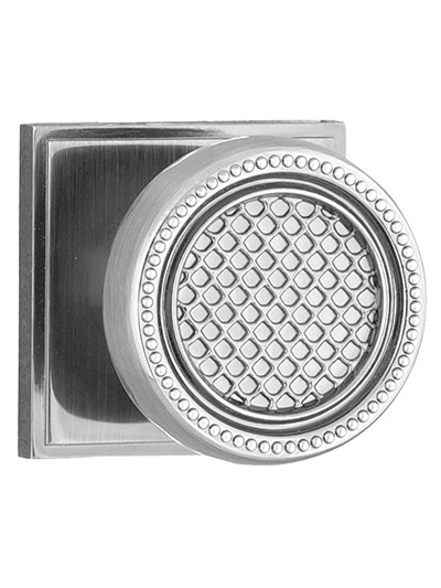 Patterned Door Knob with Square Backplate - Buy Cabinet Knobs in Aurora at Handle This