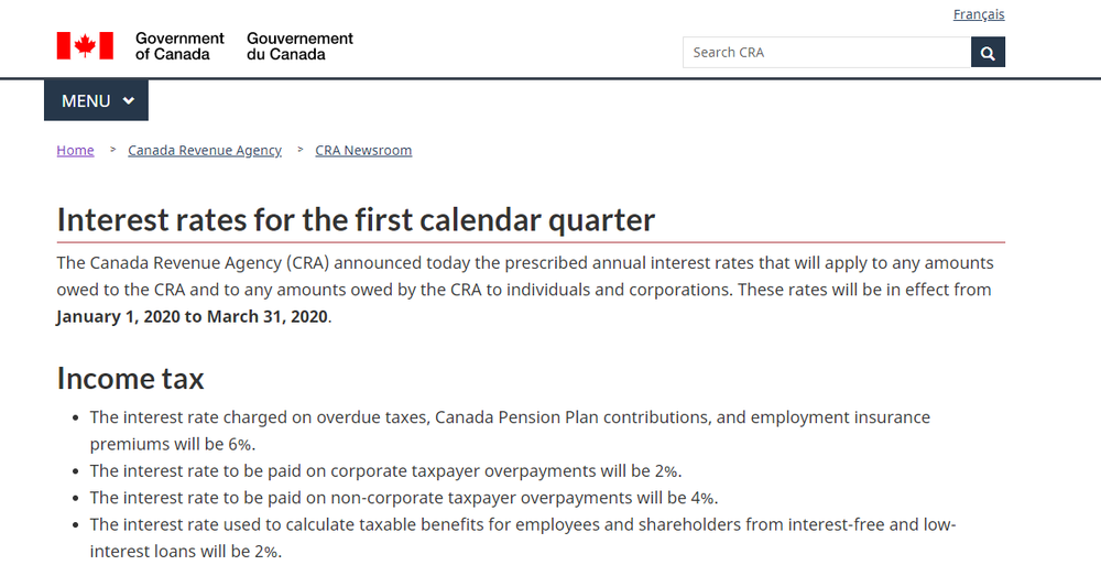 Interest rates for the first calendar quarter - Canada ca.png