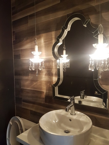 White Sink Below Wall Mirror - Interior Design Services in Edmonton by Herr Design