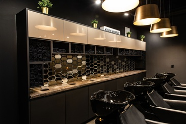 Iron Salon Shampoo Area Design by Interior Design Firm in Edmonton AB - Herr Design