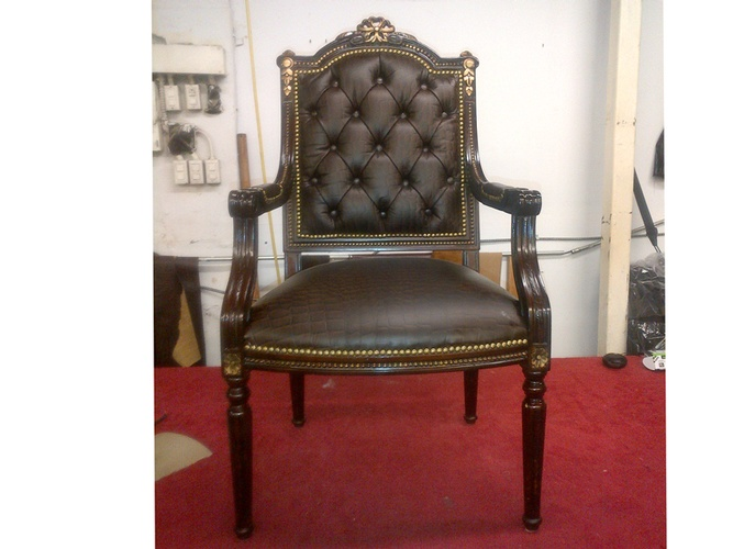Antique Victorian Upholstered armchair in Brown color by Nesco Upholstery and Design