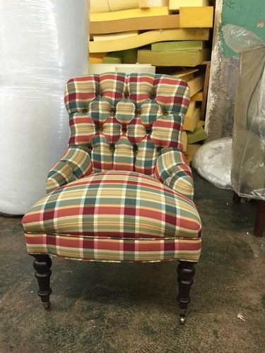 Vintage Plaid Chair - Furniture Refinishing Brooklyn by Nesco Upholstery and Design
