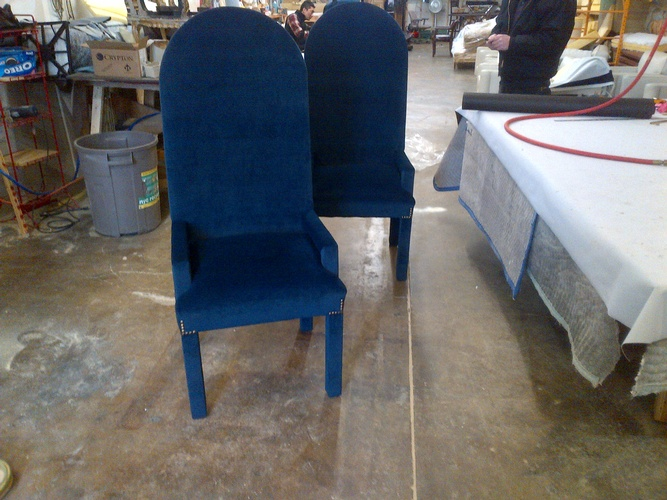Modern leather recliner chair in blue color