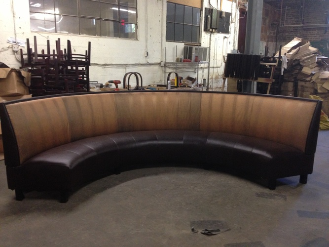 Fabric Upholstered Curved Couch by Nesco Upholstery and Design