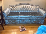 Silver velvet Couch - Custom Upholstery Services Brooklyn by Nesco Upholstery and Design