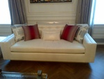 Upholstered Shiny Fabric Sofa by Nesco Upholstery and Design