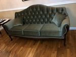 Vintage Style Velvet Upholstered Cushion Sofa in Green color