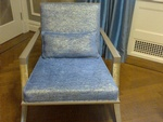 Shiny Fabric Cushioned Chair by Nesco Upholstery and Design - Residential Upholstery Brooklyn NYC