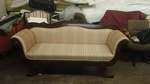 Pinstripe Pattern Fabric Upholstered Sofa by Nesco Upholstery and Design