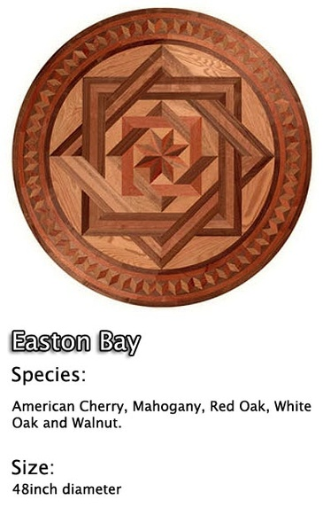 Hardwood Floor Medallion Installation - American Cherry, Mahogany, Red Oak, White Oak and Walnut.