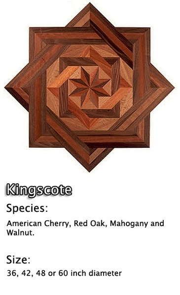 Hardwood Floor Medallion Installation - American Cherry, Mahogany, White Oak and Walnut.