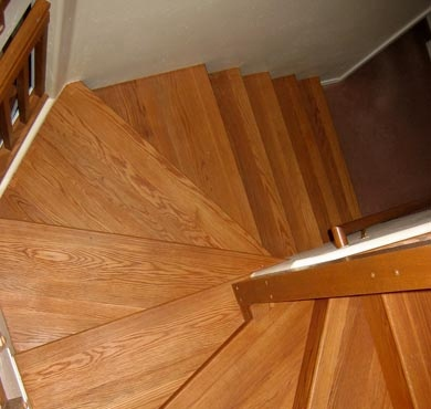 White Oak Pie Shaped Treads -  Stair Installation by Al Havner and Sons Hardwood Flooring