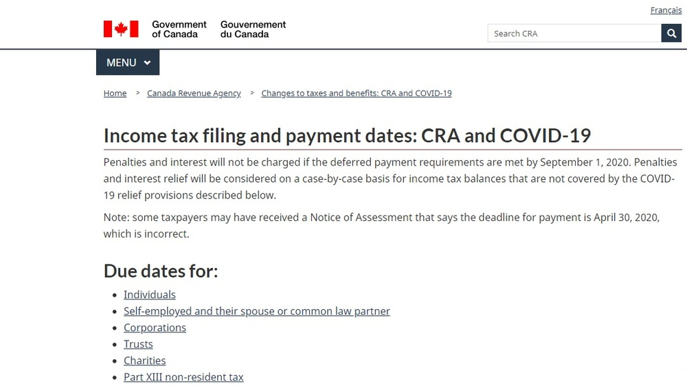 Income tax filing and payment dates  CRA and COVID-19 - Canada ca.jpg