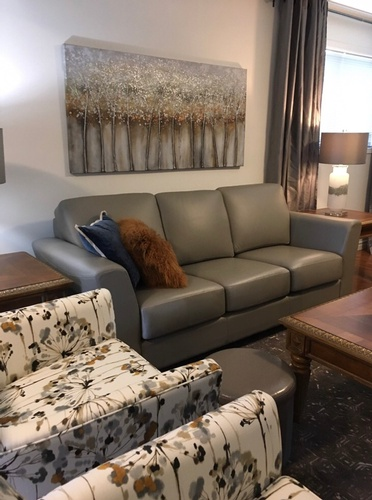 Living Room With Grey Leather Sofa - Interior Decorating Services Greater Sudbury ON by INTERIORS by NICOLE