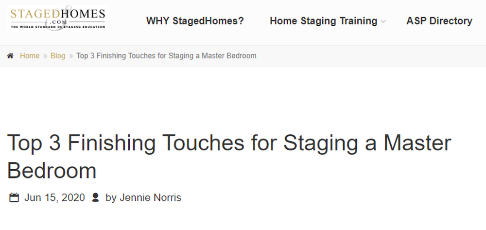 Top 3 Finishing Touches For Staging A Master Bedroom